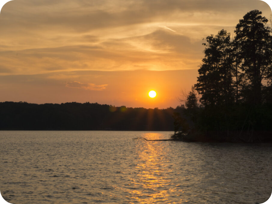 Sunset on Lake Norman as seen from the Party Pontoon party boat rental.